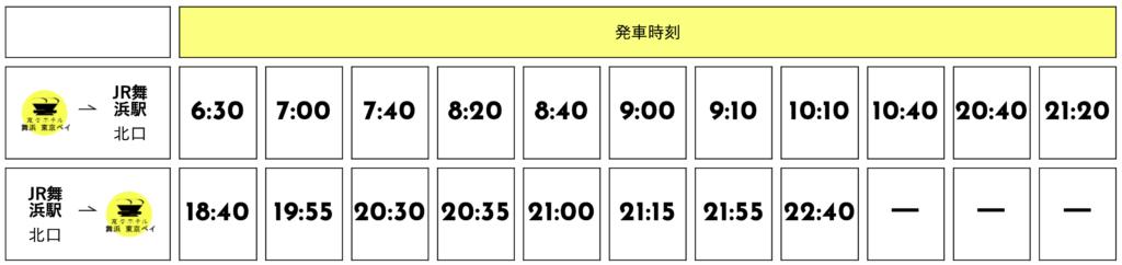 変なホテル舞浜のシャトルバスの時刻表の画像