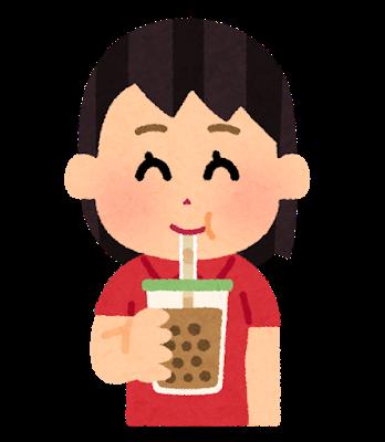 タピオカドリンクを飲む女性のイラスト