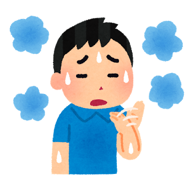汗をかいている男性のイラスト