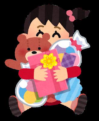 プレゼントをもった女の子のイラスト