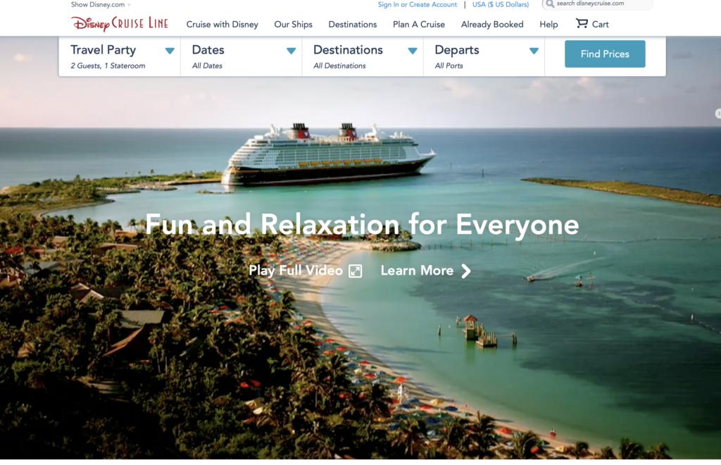 Disney Cruise Line公式ページの画像